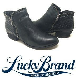 "Lucky Brand ""Bartalino"" Black Leather Zipper Boots"